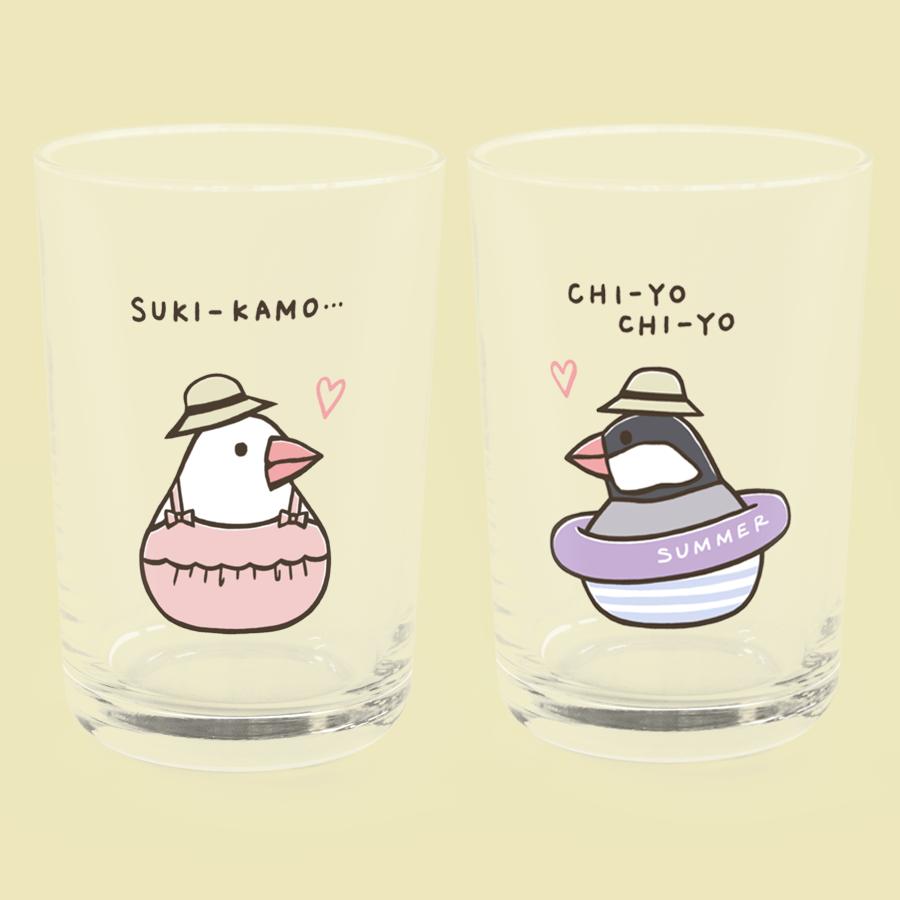 夏の日の文鳥グラス