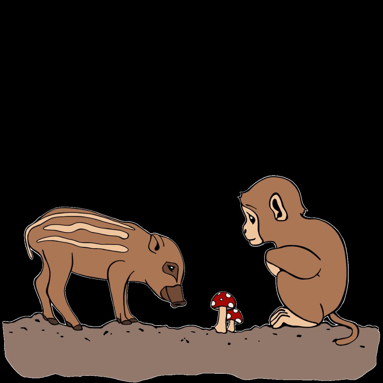 小猿と瓜坊ときのこ