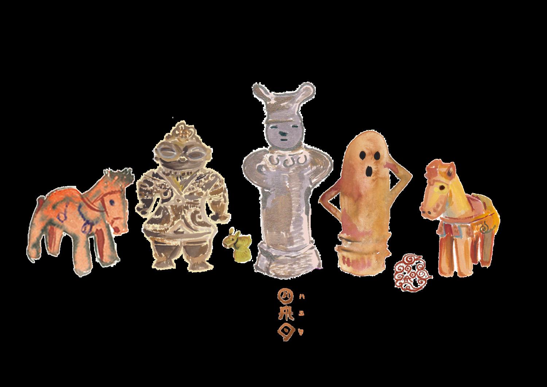 ハニワや土偶、土器、銅鐸など