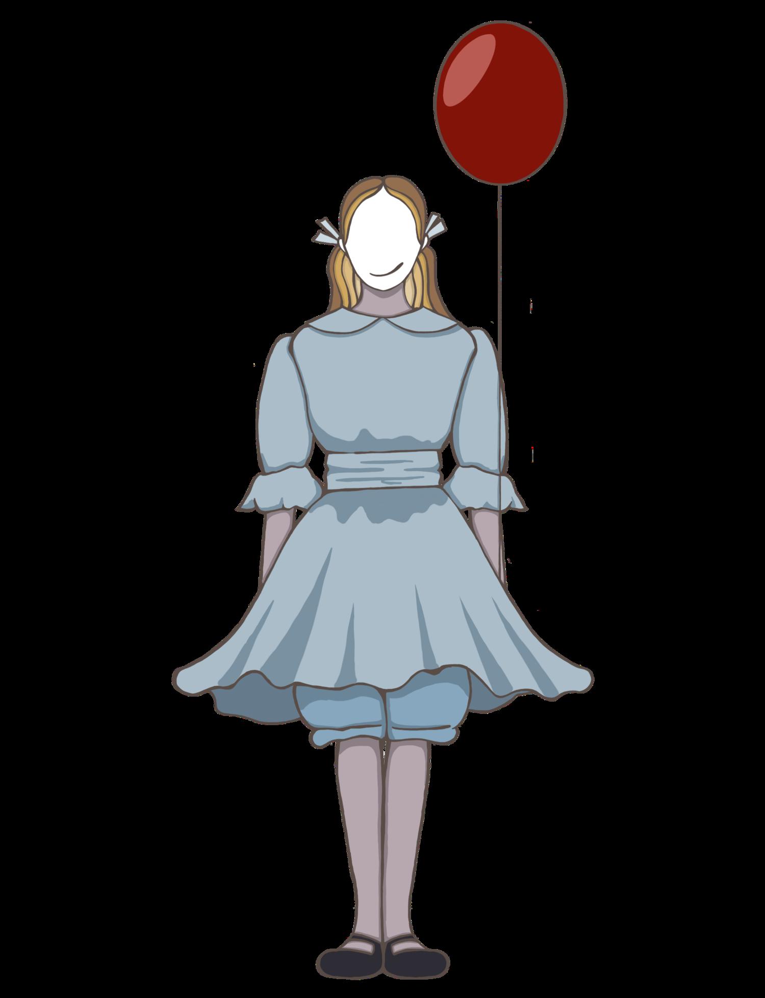 風船と女の子