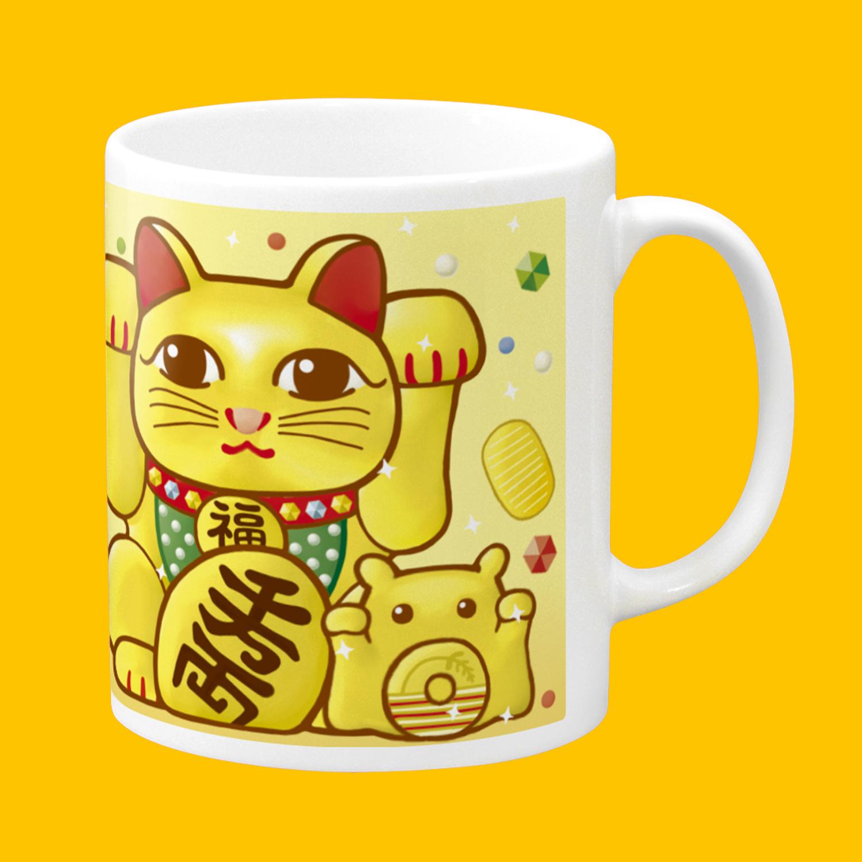 【両手 招き猫☆】「開運マグカップ」
