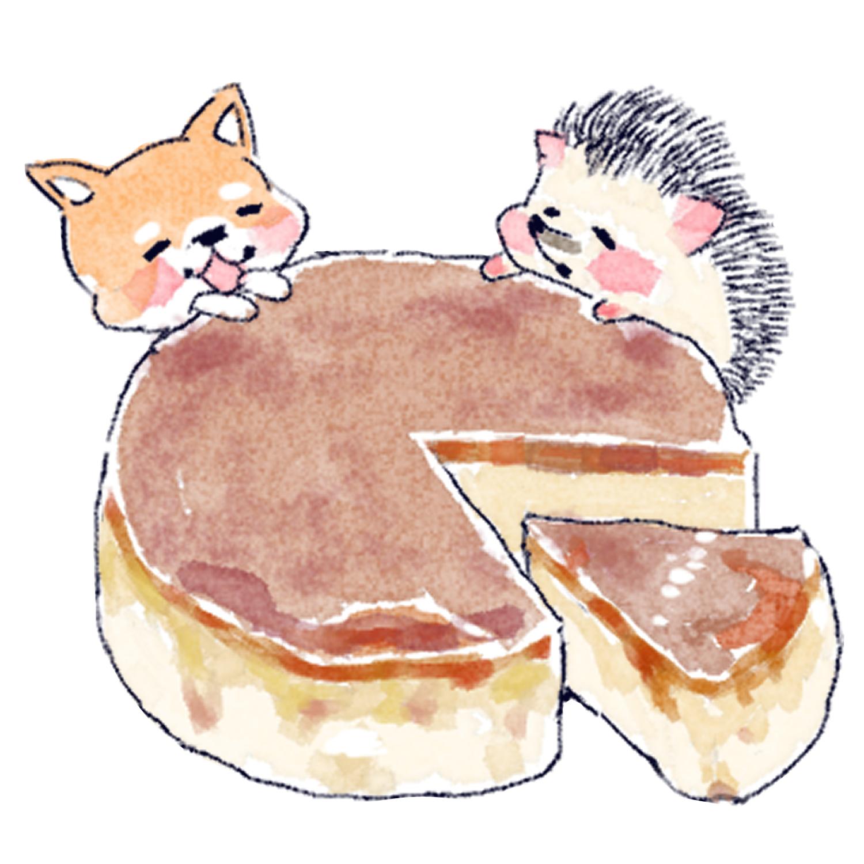 チーズケーキを食べるハリネズミのソフィー