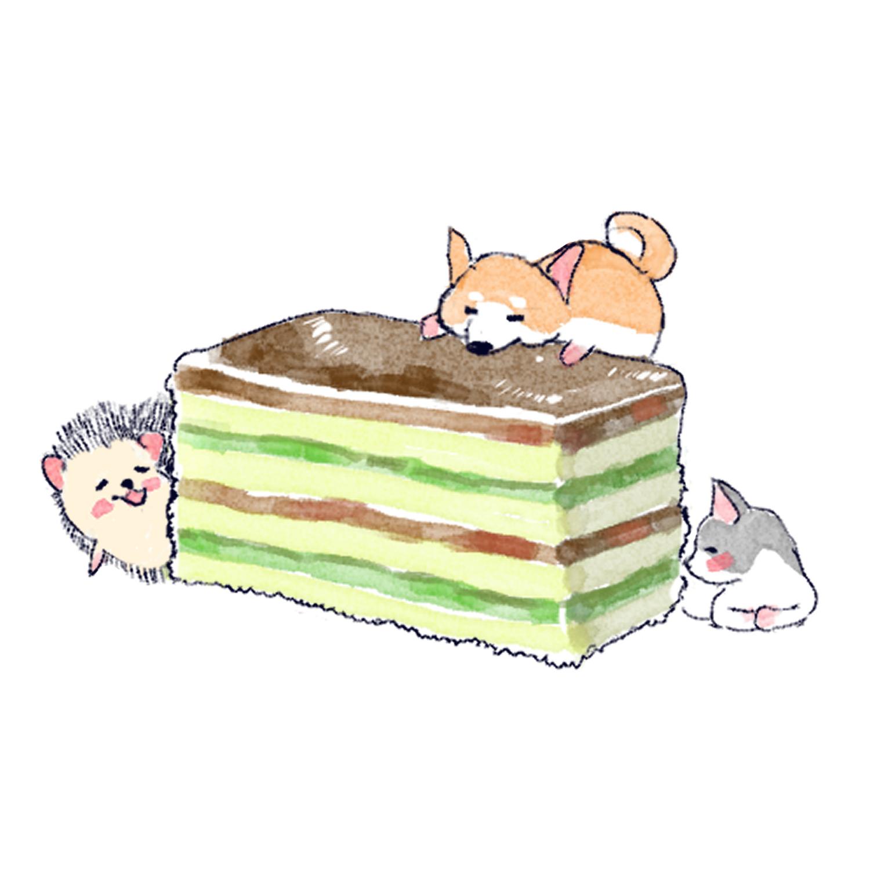 犬猫とみんなで3食ケーキを食べるハリネズミのソフィー
