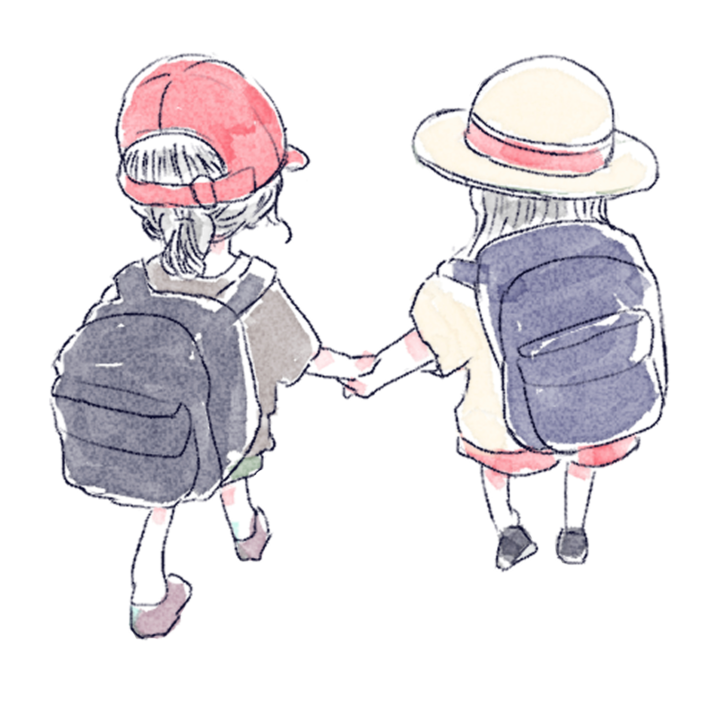 手を繋ぐ二人の女の子