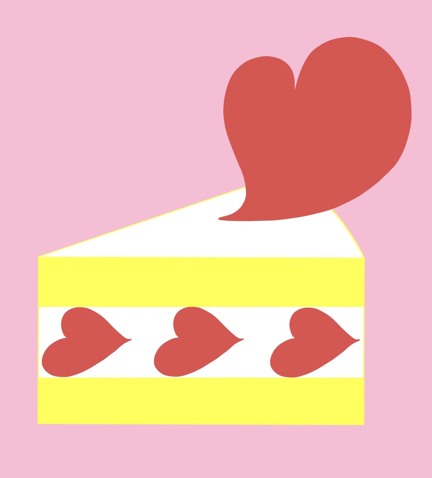 ハートのショートケーキ