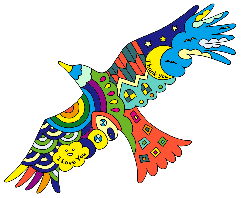 虹色の飛ぶ鳥