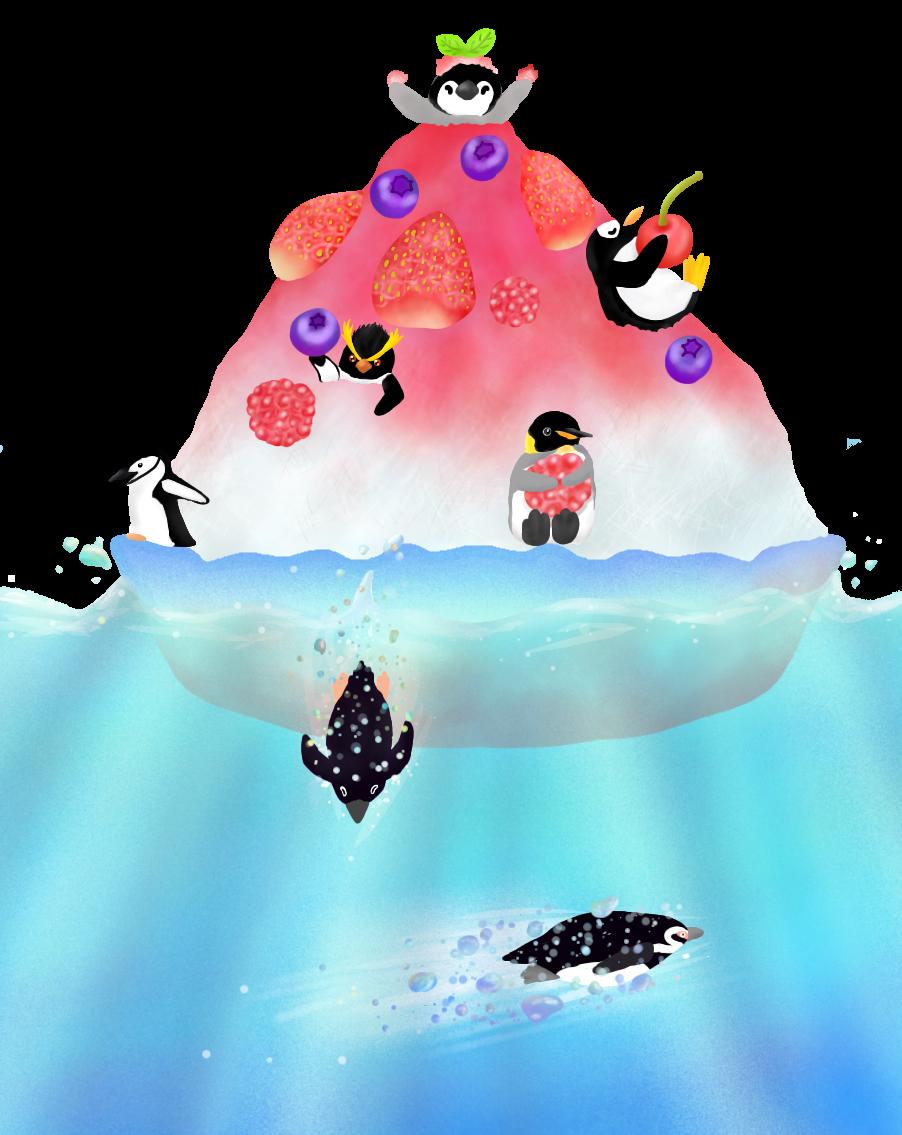 かき氷島のペンギンたち