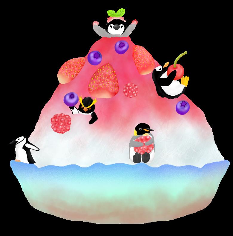 かき氷とペンギンたち